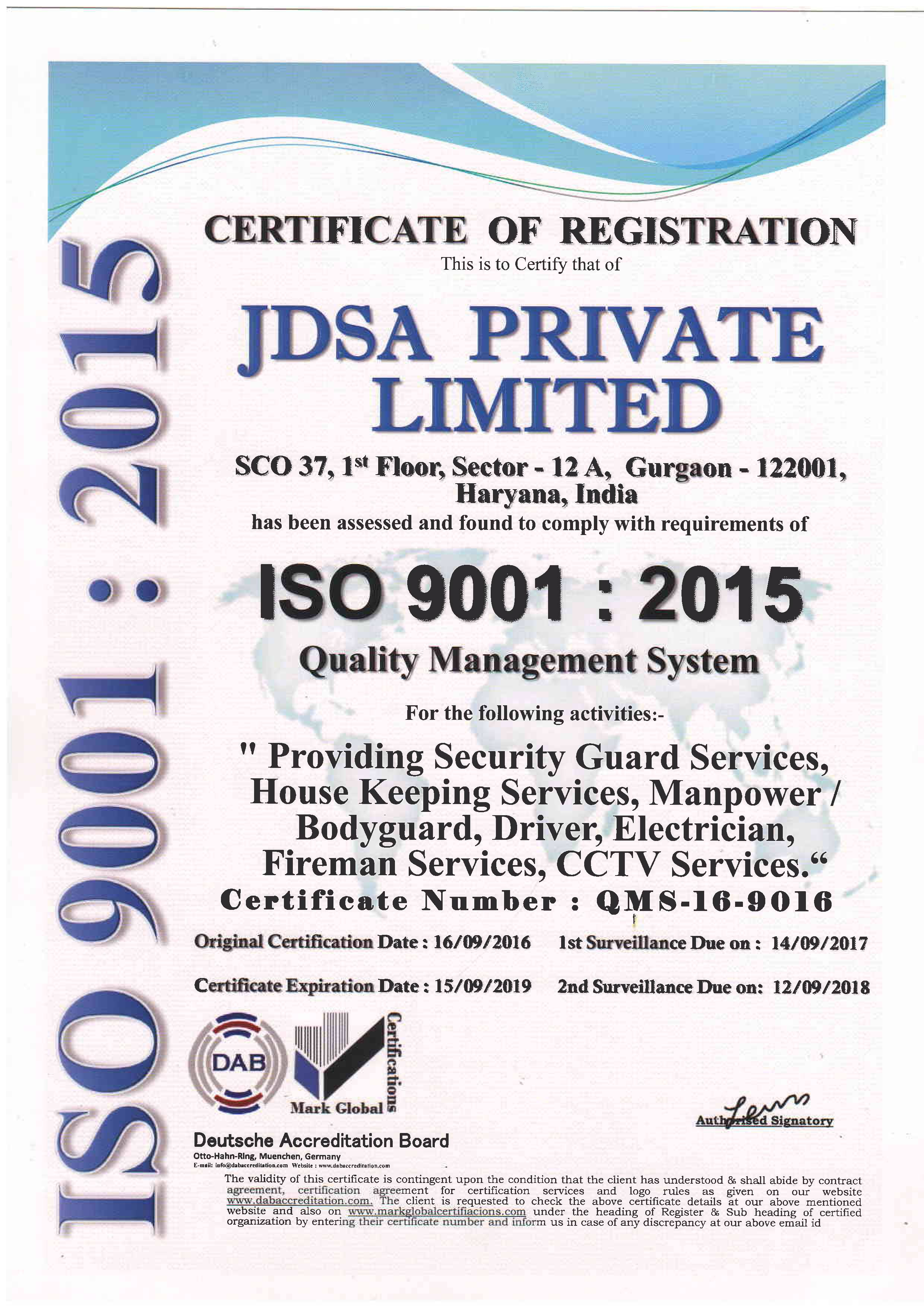 An iso certifite company jdsa security pvt ltd an iso certified company 1betcityfo Gallery
